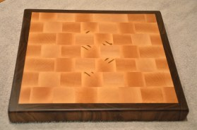 "Cutting Board # 14 - 66. Hard Maple and Black Walnut end grain. 13"" x 12"" x 1-1/2""."