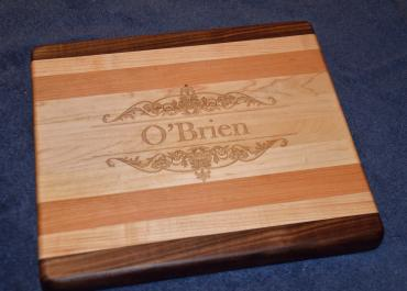 """Engraved # 15 - 02. Commissioned piece. Black Walnut, Hard Maple and Cherry. 8"""" x 12"""" x 1-1/8""""."""
