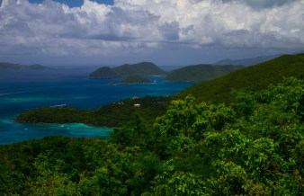 A view from Caneel Hill overlooking Hawksnest Bay. Photo by Kerry Childers. Posted on Tumblr by the US Department of the Interior, 2/12/15.