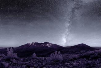 On a clear, moonless night, visitors to Great Basin National Park in Nevada can see thousands of stars, five of our solar system's eight planets, star clusters, meteors, man-made satellites, the Andromeda Galaxy, and the Milky Way – all with the naked eye. The area boasts some of the darkest night skies left in the United States. The black sky, the purple landscape ... beauty. Tweeted by the US Department of the Interior, 5/17/15.