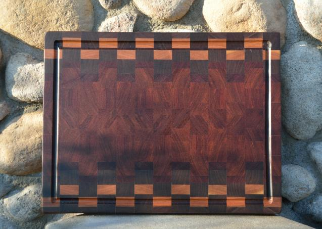 "Cutting Board 15 - 050. Black Walnut, Cherry and Jatoba end grain with juice groove. 15"" x 21"" x 1-1/2""."