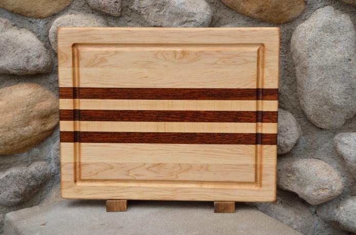 "Cutting Board # 15 - 054. Hard Maple & Jatoba edge grain with juice groove. 12"" x 16"" x 1-1/4""."