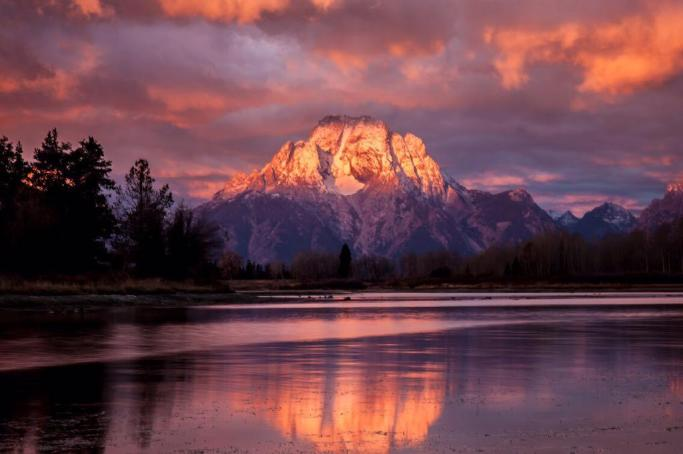 Sunrise on Mount Moran at the Grand Teton National Park. Photo by Juliet Schwab. Tweeted by the US Department of the Interior, 7/11/15.