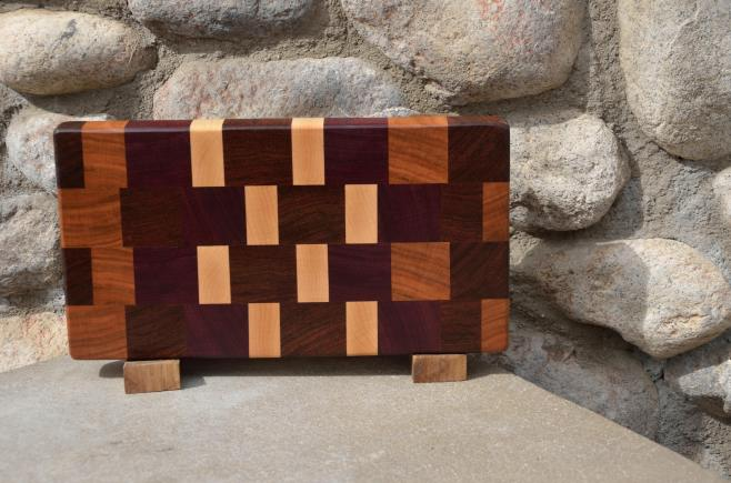 "Small Board # 15 - 041. Black Walnut, Cherry, Purpleheart & Hard Maple end grain. 7"" x 12"" x 1-1/4""."