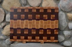 "Cutting Board # 15 - 071. Hard Maple, Cherry, Jatoba & Purpleheart. Edge Grain. 16"" x 20"" x 1-1/2"". Commissioned piece."