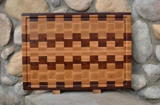 "Cutting Board # 15 - 075. Jatoba & Hard Maple. End Grain, Juice Groove. 16"" x 20"" x 1-1/2""."
