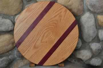 "Lazy Susan # 15 - 021. Red Oak & Purpleheart. 17"" diameter x 3/4""."