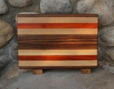 "Small Board # 15 - 053. Black Walnut, Hard Maple & Padauk. Edge Grain. 9"" x 12"" x 1""."