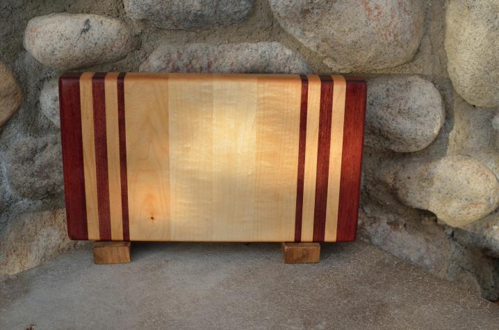 "Small Board # 15 - 054. Purpleheart & Hard Maple. Edge Grain. 7"" x 12"" x 1-1/4""."