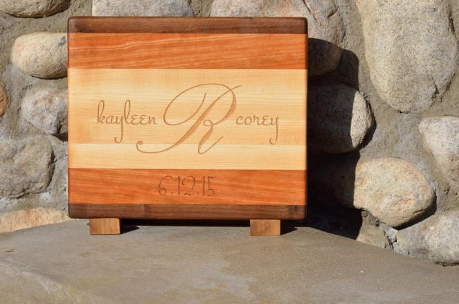 "Engraved board # 15 - 36. Black Walnut, Cherry & Hard Maple. Edge grain. 11"" x 8"" x 3/4""."
