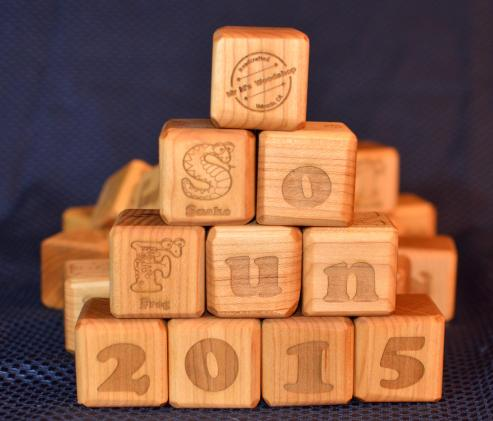 "37 Building Blocks. Hard Maple. 1-3/4"" x 1-3/4"" x 1-3/4""."