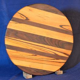"""Lazy Susan # 15 - 029. Goncalo Alves & Black Walnut. 17"""" diameter x 3/4"""". Sold in its first showing."""