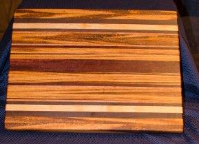 "Cutting Board 16 - Edge 002. Goncalo Alves, Black Walnut, Honey Locust, Cherry & Jarrah. Edge Grain. 17"" x 21"" x 1-1/2""."
