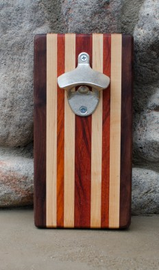 "Magic Bottle Opener 16 - 08. Black Walnut, Padauk & Hard Maple. Approximately 5"" x 10"" x 3/4""."