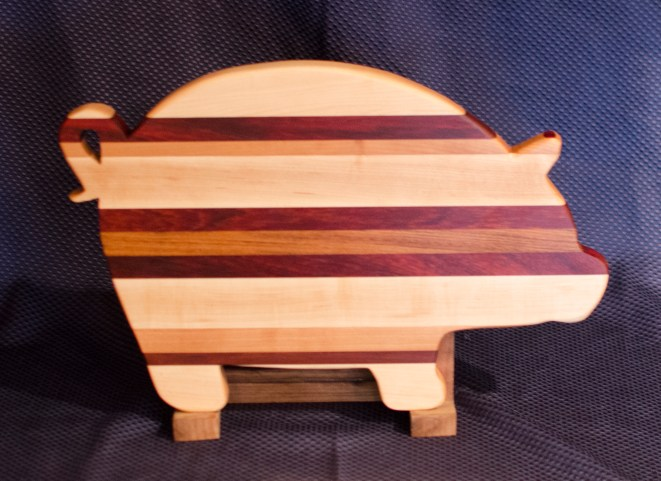 "Pig 16 - 03. Hard Maple, Padauk, Cherry & Black Walnut. 12"" x 19"" x 1""."