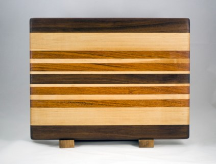 "Cutting Board 16 - Edge 010. Black Walnut, Hard Maple & Jatoba. Edge grain. 12"" x 16"" x 1-1/4""."