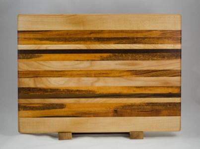 "Cutting Board 16 - Edge 012. Hard Maple, Goncalo Alves & Black Walnut. Edge grain. 14"" x 18"" x 1-1/2""."