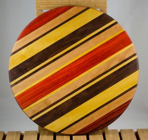 """Lazy Susan 16 - 013. Padauk, Hard Maple, Black Walnut & Yellowheart. 17"""" diameter x 3/4""""."""