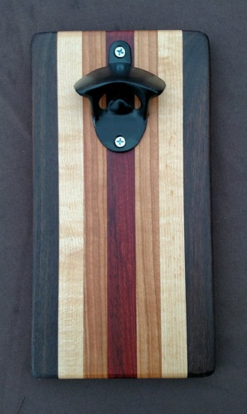 Magic Bottle Opener 16 - 032. Black Walnut, Quilted Hard Maple, Cherry & Padauk.