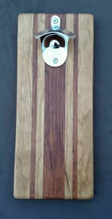 Magic Bottle Opener 16 - 058. Cherry & Jatoba. Double Magic for refrigerator mount.