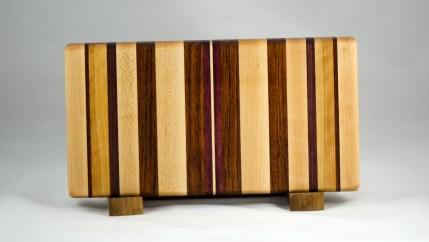"Small Board 16 - 009. Hard Maple, Black Walnut, Cherry, Jatoba & Purpleheart. Edge grain. 7"" x 14"" x 1-1/4""."