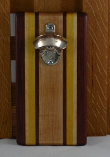 Magic Bottle Opener 16 - 087. Purpleheart, Yellowheart & Hard Maple. Wall mount.