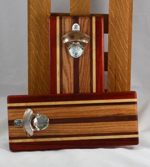 Magic Bottle Opener 16 - 088. Padauk, Hard Maple, Bubinga & Red Oak. Wall mount.