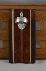 Magic Bottle Opener 16 - 095. Black Walnut, Hard Maple, Bibinga & Cherry. Double Magic = Refrigerator or Wall Mount.