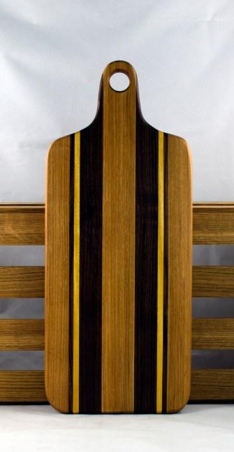 """Bread Board 16 - 06. Hickory, Black Walnut & Yellowheart. 8"""" x 20"""" x 7/8""""."""