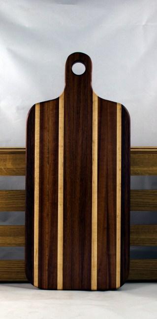 "Bread Board 16 - 07. Black Walnut, Hard Maple & Bubinga. 8"" x 20"" x 7/8""."