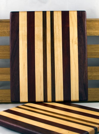 "Cheese Board 16 - 041. Black Walnut, Jatoba & Hard Maple. 9"" x 11"" x 3/4""."