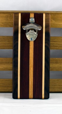 "Magic Bottle Opener 16 - 114. Double Magic. Black Walnut, Hard Maple, Purpleheart & Cherry. 5"" x 11"" x 3/4""."