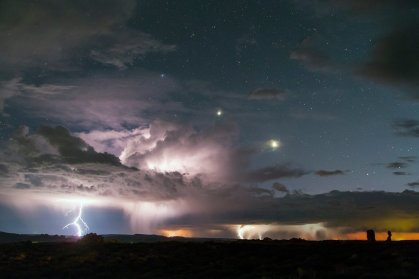 A powerful lightning storm lights up the sky over Arches National Park! Photo by David Lane. Tweeted by the US Department of the Interior, 9/19/16.