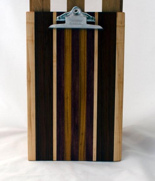 "Clipboard 16 - 026. Hard Maple, Canarywood, Purpleheart & Jatoba. Legal size. 1"" clip."