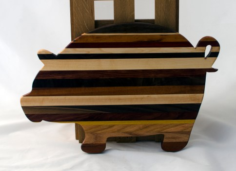"Pig 16 - 11. Cherry, Red Oak, Yellowheart, Black Walnut, Goncalo Alves & Padauk, Hard Maple. 12"" x 19"" x 3/4""."