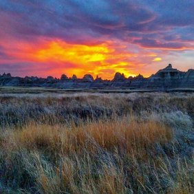 Sunset over South Dakota's Badlands National Park. Tweeted by the US Department of the Interior, 10/19/16.