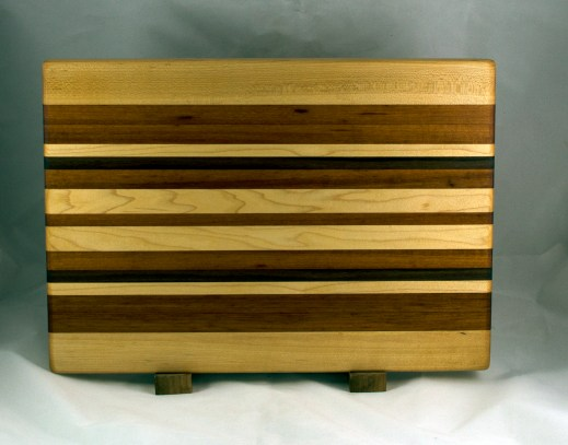 "Cutting Board 16 - Edge 024. Hard Maple, Goncalo Alves & Black Walnut. Edge Grain. 14"" x 18"" x 1-1/4""."