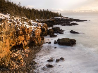 Sunrise breaks the winter chill at Acadia National Park in Maine. As you admire the snow reflecting the morning light and listen to the waves lap at the stony shoreline, feel the warmth of another day welcome you to this beautiful place. Park Loop Road has closed for the season, but Ocean Drive remains open as conditions allow. Happy exploring! Photo by Rebecca Wilks. Posted on Tumblr by the US Department of the Interior, 12/19/16.