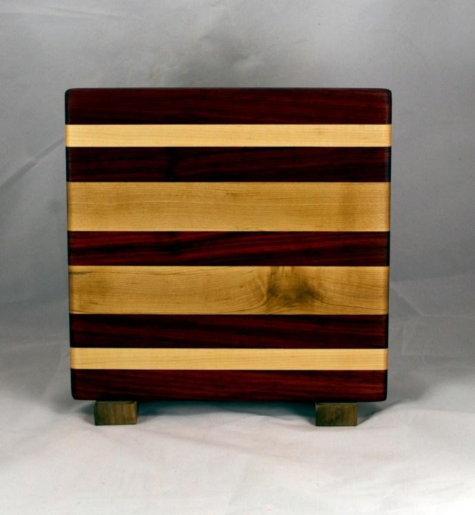 "Cheese Board 16 - 058. Padauk & Hard Maple. 9"" x 12"" x 7/8""."