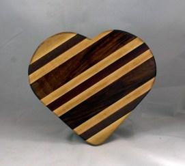 "Heart 16 - 05. Hard Maple, Bloodwood & Purpleheart. 11"" x 12"" x 3/4."
