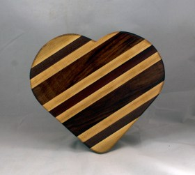"Heart 16 - 05. Hard Maple, Bloodwood & Purpleheart. 11"" x 12"" x 3/4."