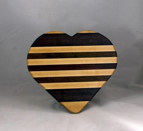 """Heart 16 - 06. Hard Maple, Purpleheart, Jatoba & Bloodwood. 11"""" x 12"""" x 3/4""""."""