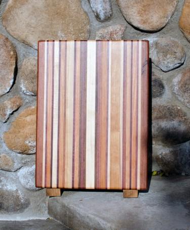 "Cutting Board 17 - 104. Chaos Board. Jatoba, Hard Maple, Purpleheart, Black Walnut & Cherry. Edge Grain. 12"" x 15"" x 1-1/4""."