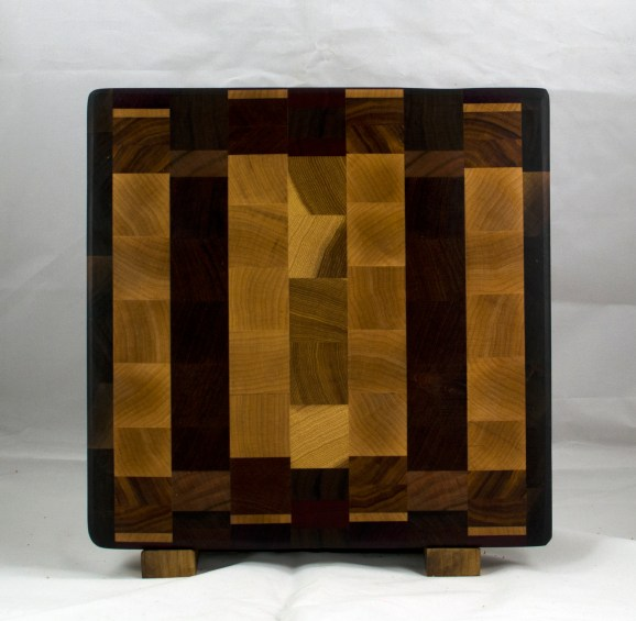 "Cutting Board 17 - 408. Chaos board, End Grain. 13"" x 13"" x 1-1/4""."