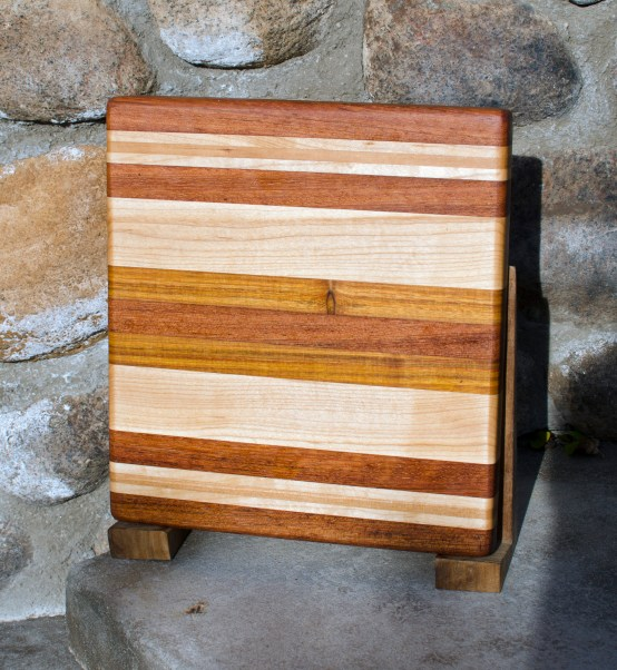 "Small Board 17 - 206. Jatoba, Hard Maple, Cherry & Canarywood. 11"" x 11"" x 1""."