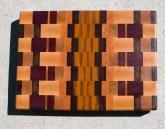 "Cutting Board 17 - 421. Hard Maple, Cherry, Jatoba, Bloodwood, Purpleheart, Honey Locust & Canarywood. End Grain. 11-3/4"" x 15-3/8"" x 1-1/2""."