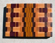 "Cutting Board 17 - 421. Hard Maple, Cherry, Jatoba, Bloodwood, Purpleheart, Honey Locust & Canarywood. End Grain. 11-3/4"" x 15-3/8"" x 1-1/2""."