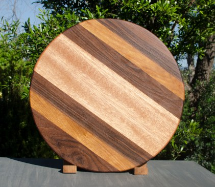 "Lazy Susan 17 - 04. Black Walnut, Cherry & Mahogany. 18"" diameter."