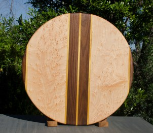 "Lazy Susan 17 - 06. Black Walnut, Yellowheart & Birdseye Maple. 18"" diameter."