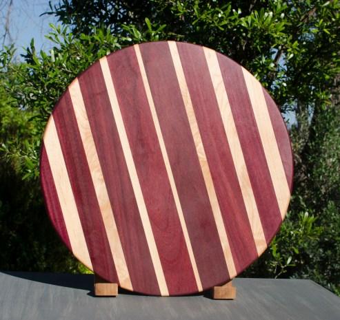"Lazy Susan 17 - 11. Purpleheart & Hard Maple. 18"" diameter."